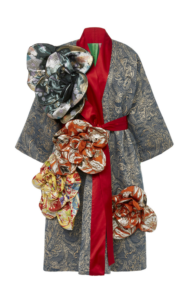 Rianna + Nina Rianna + Nina Exclusive Belted Floral-Appliquéd Silk-Brocade Coat in blue