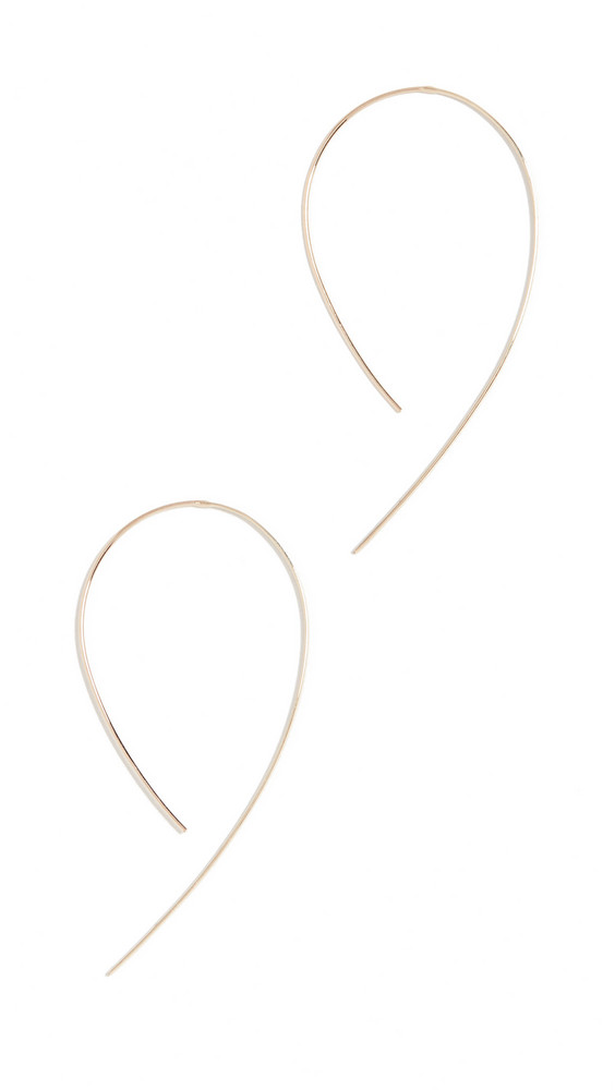 LANA JEWELRY Small Flat Hooked Hoop Earrings in gold / rose
