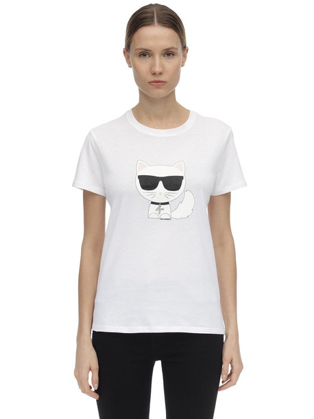 KARL LAGERFELD Embellished Cotton Jersey T-shirt in white