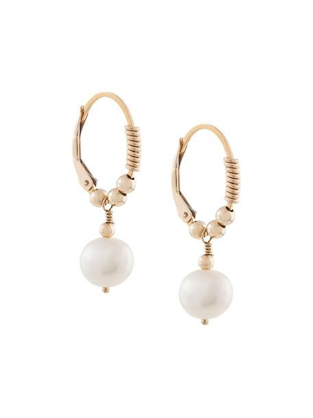 Petite Grand little pearl hoop earrings in gold