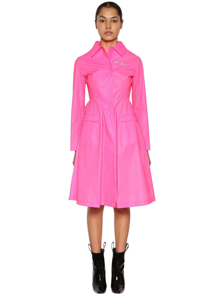 PALM ANGELS Logo Printed Shirt Midi Dress in pink