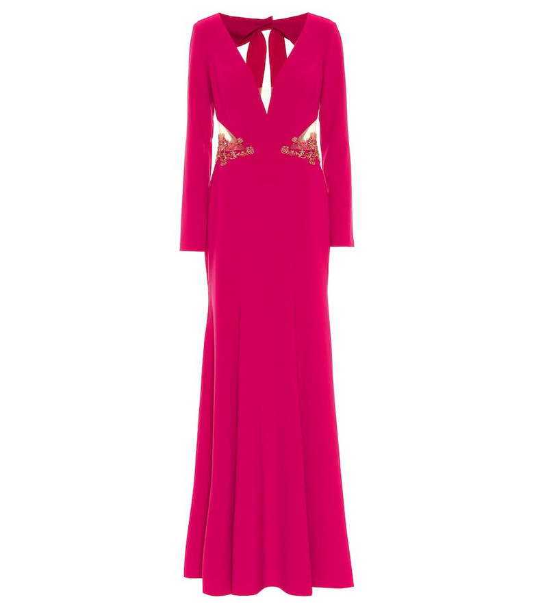 Marchesa Notte Embellished stretch-crêpe gown in pink