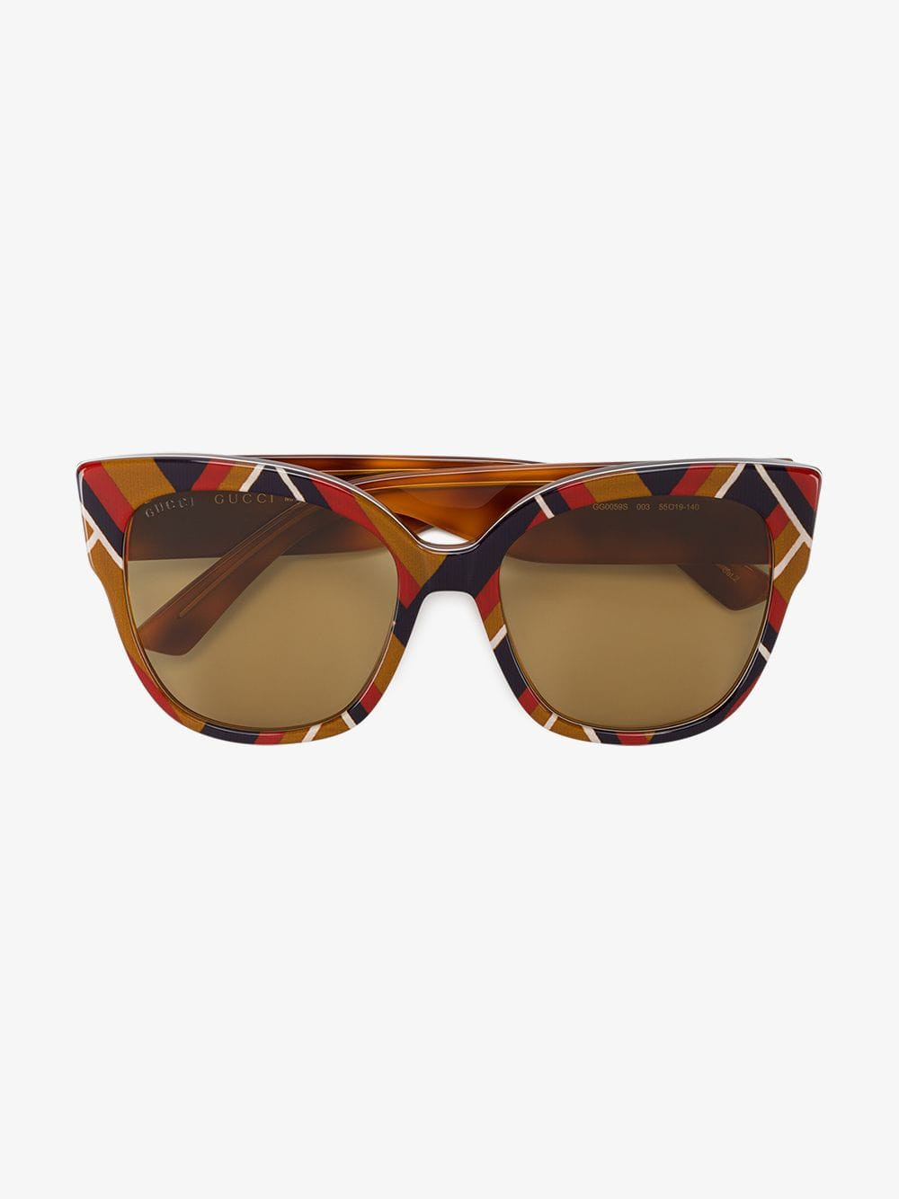Gucci Eyewear multicoloured chevron square-frame sunglasses in brown