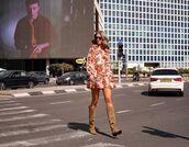 shoes,knee high boots,mini dress,floral dress