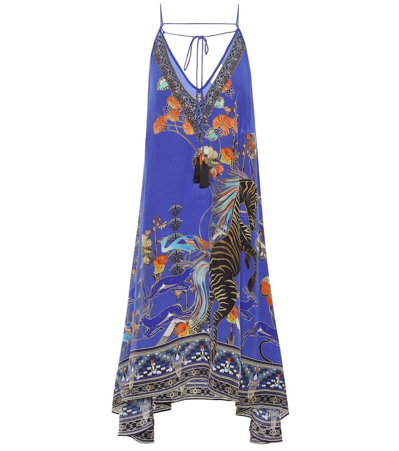 Camilla Embellished silk minidress in blue