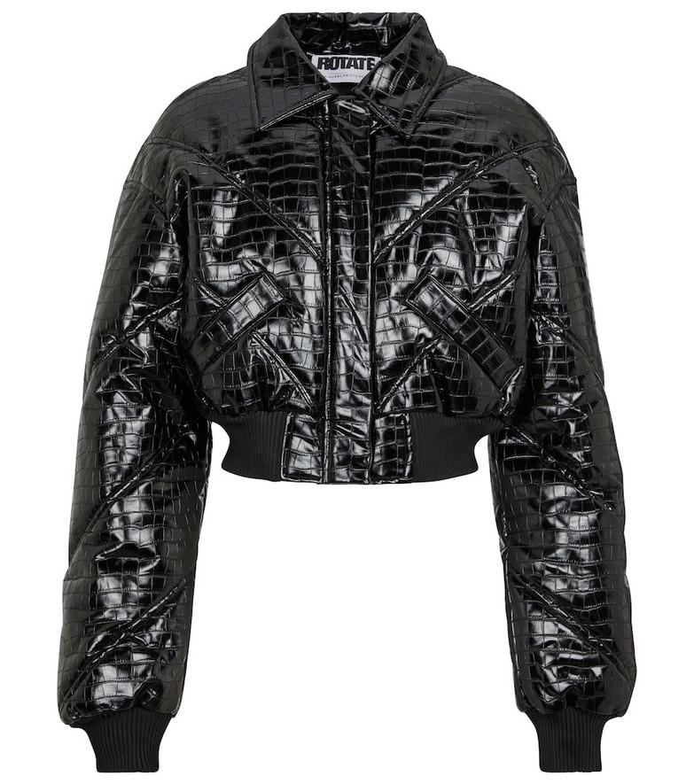 ROTATE BIRGER CHRISTENSEN Rosa croc-effect bomber jacket in black