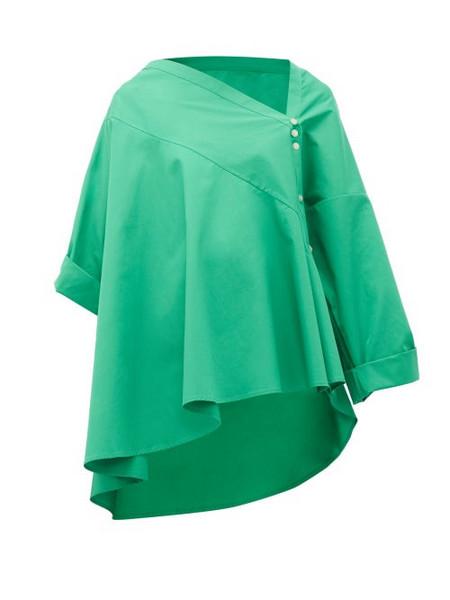 Palmer/harding Palmer//harding - Asymmetric Cotton Poplin Trapeze Shirt - Womens - Green