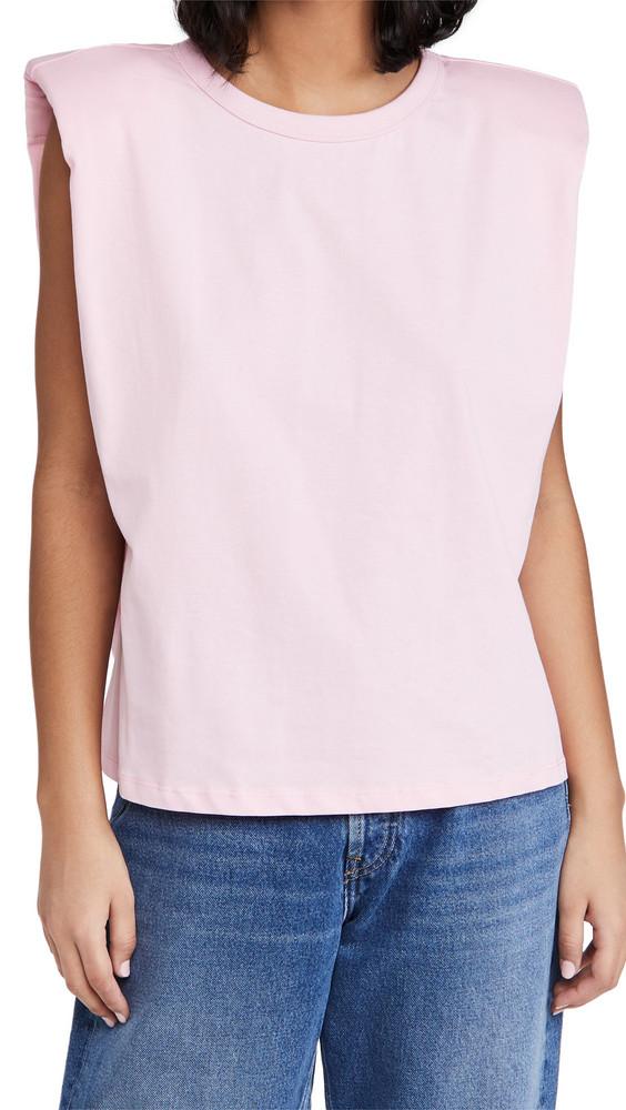 endless rose Padded Shoulder T-Shirt in pink