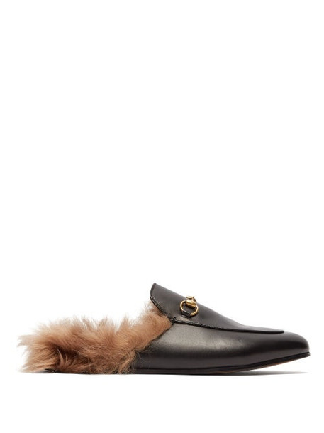 Gucci - Princetown Shearling-lined Leather Loafers - Womens - Black