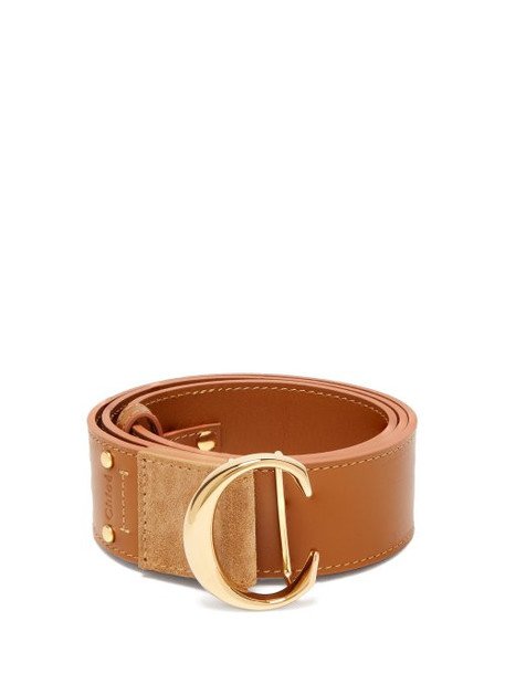 Chloé Chloé - Monogram Buckle Leather Belt - Womens - Yellow