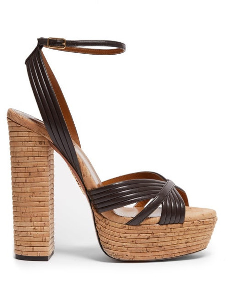 Aquazzura - Sundance Plateau 140 Leather & Wood Heeled Sandals - Womens - Brown