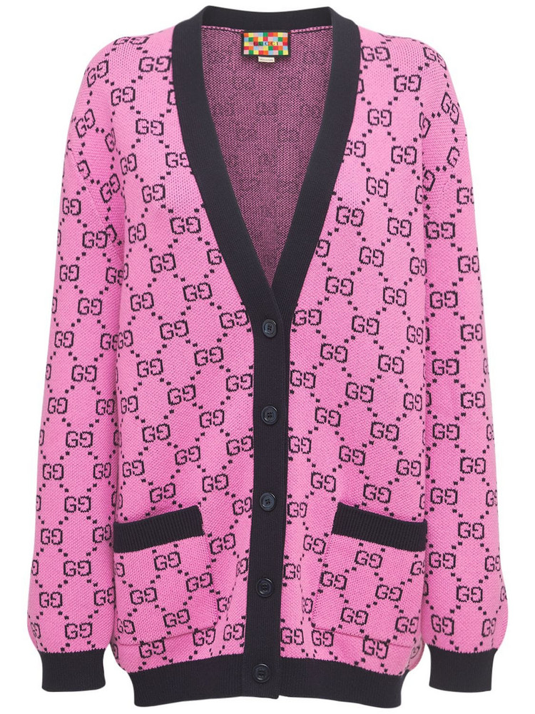 GUCCI Gg Multicolor Wool Blend Knit Cardigan in pink / multi