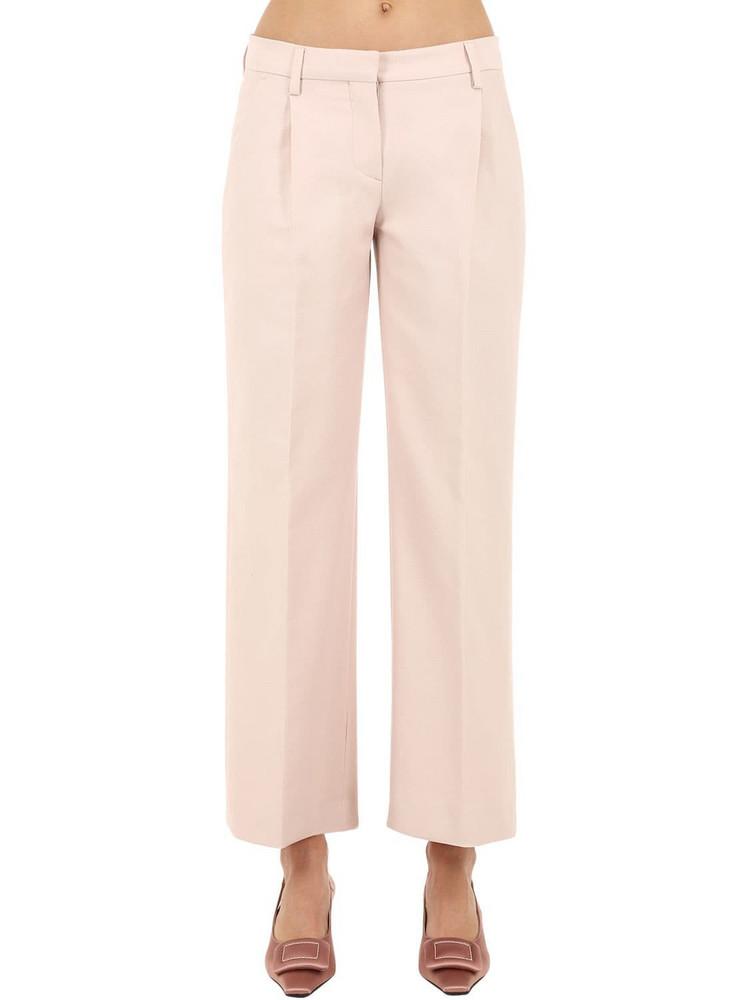 LARDINI Tailored Straight Leg Cotton Blend Pants in pink