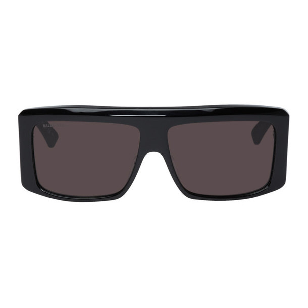 Balenciaga Black Oversized Flat Top Sunglasses