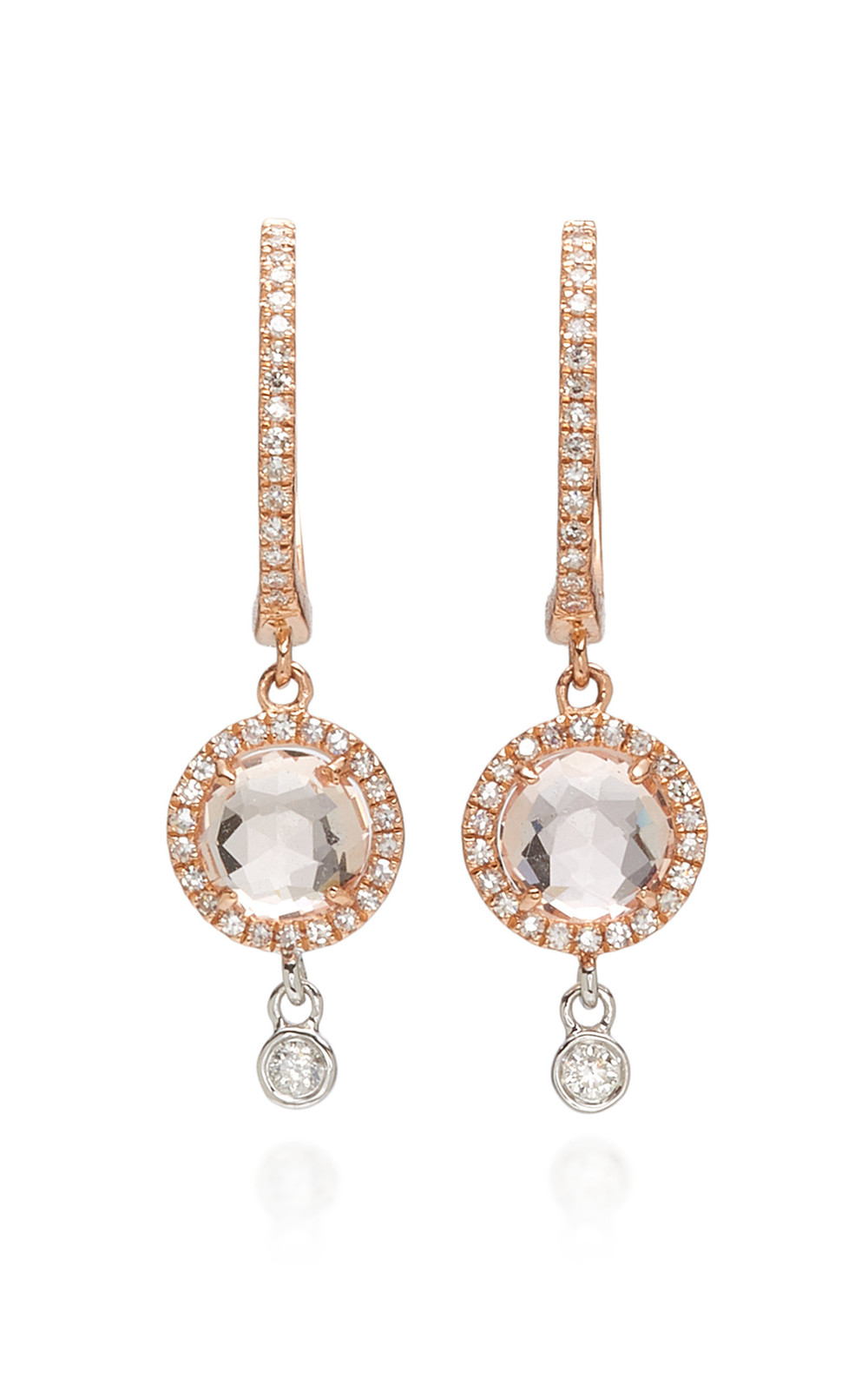 Meira T 14K Rose Gold Diamond And Morganite Earrings in pink