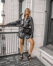 bag,gucci bag,black leather jacket,platform sandals,black sandals