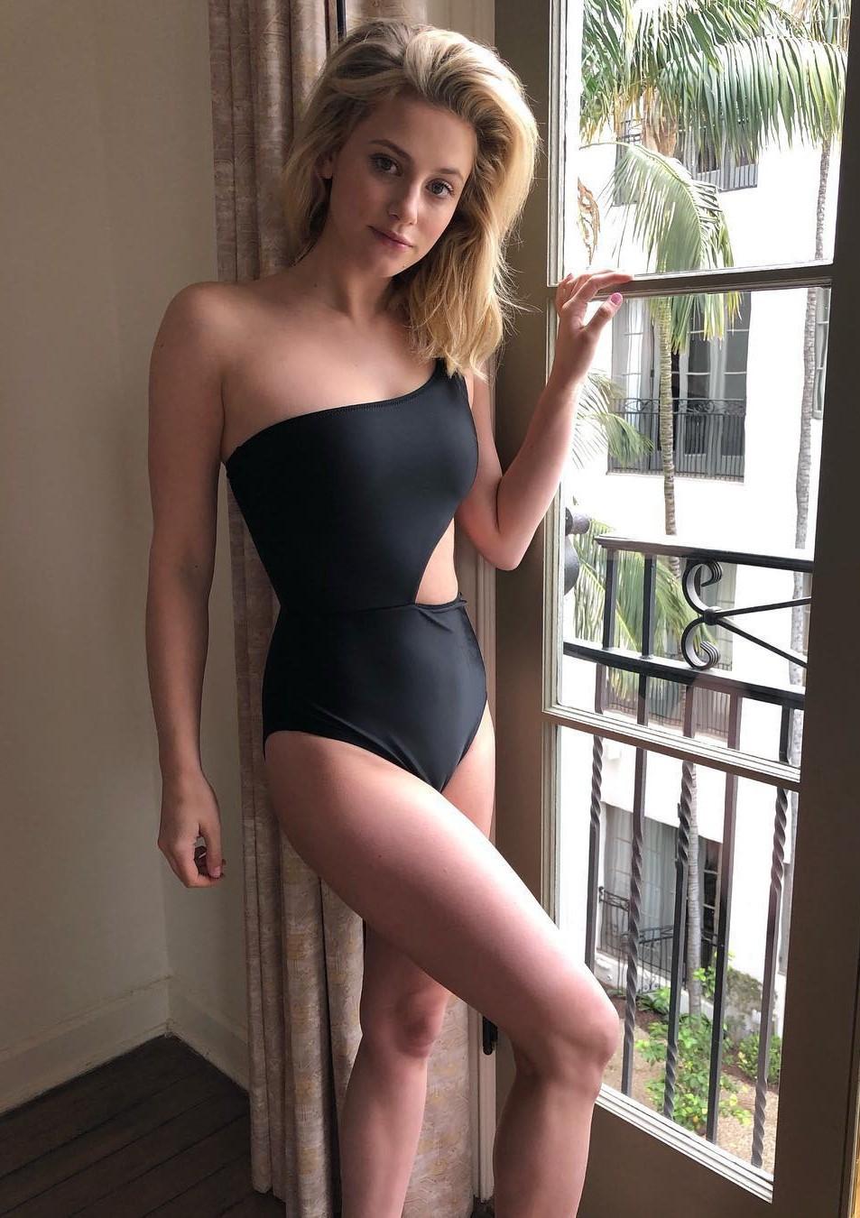 swimwear lili reinhart celebrity black swimwear one piece swimsuit cut-out instagram asymmetrical asymmetric swimsuit