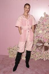 jumpsuit,model off-duty,pink,pants,top,rosie huntington-whiteley
