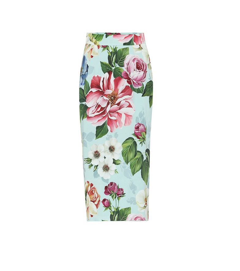 Dolce & Gabbana Floral pencil skirt in blue