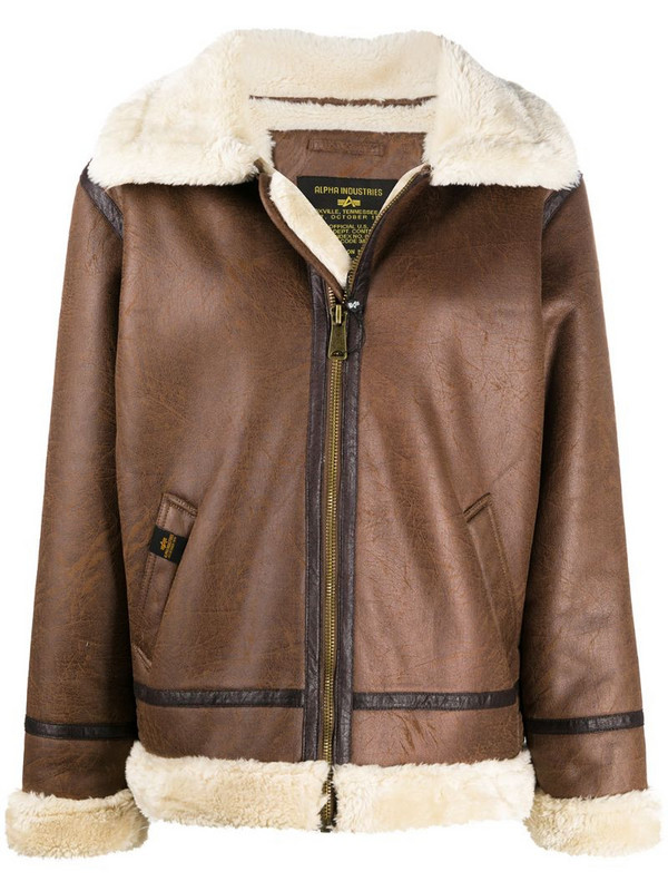 Alpha Industries faux shearling aviator jacket in brown