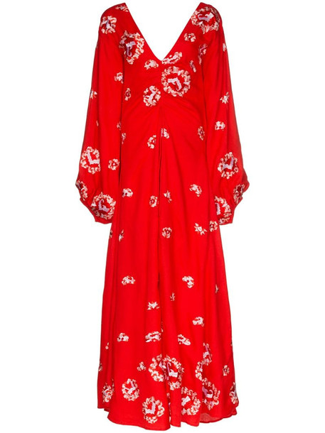All Things Mochi Catalina floral embroidered maxi dress in red