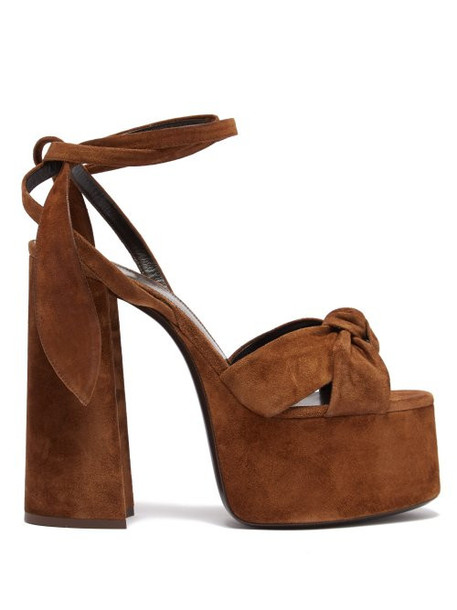 Saint Laurent - Paige Platform Suede Sandals - Womens - Tan