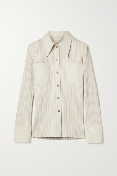 Nanushka - Blaine Pleated Vegan Leather Shirt - Off-white