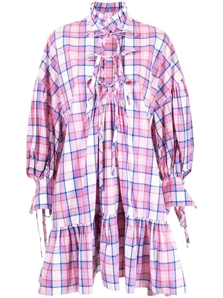 MSGM ruffled plaid minidress in pink