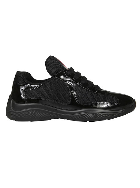 Prada Glossy Detail Laced-up Sneakers in nero
