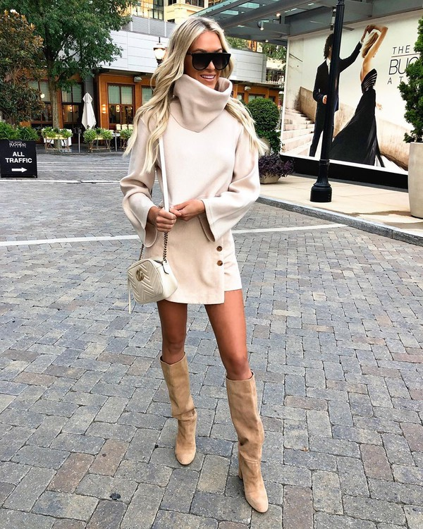 sweater turtleneck sweater cropped sweater mini skirt wrap skirt knee high boots white bag