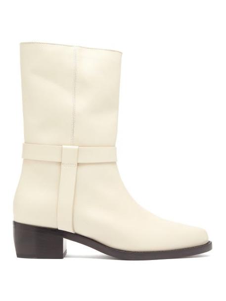 Legres - Stacked Heel Leather Biker Boot - Womens - Cream