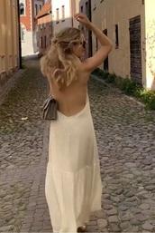 dress,beige,summer,low back,open back,midi dress,maxi dress,gold,blonde hair,boho dress,draped