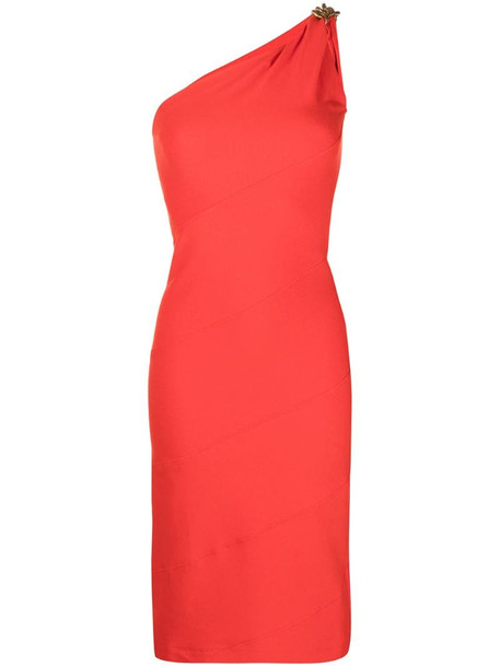 Givenchy chain detail one-shoulder dress in red