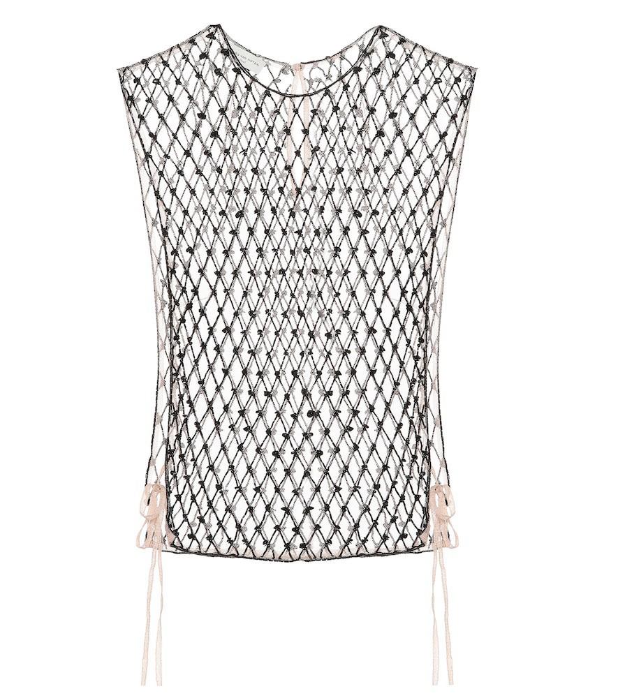 Dries Van Noten Embellished mesh top in black