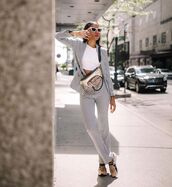 pants,flare pants,high waisted pants,sneakers,plaid blazer,white t-shirt,belt bag,steve madden