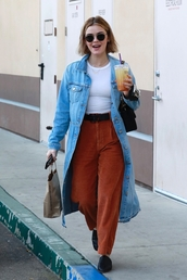 coat,denim jacket,denim,pants,lucy hale,streetstyle,fall outfits