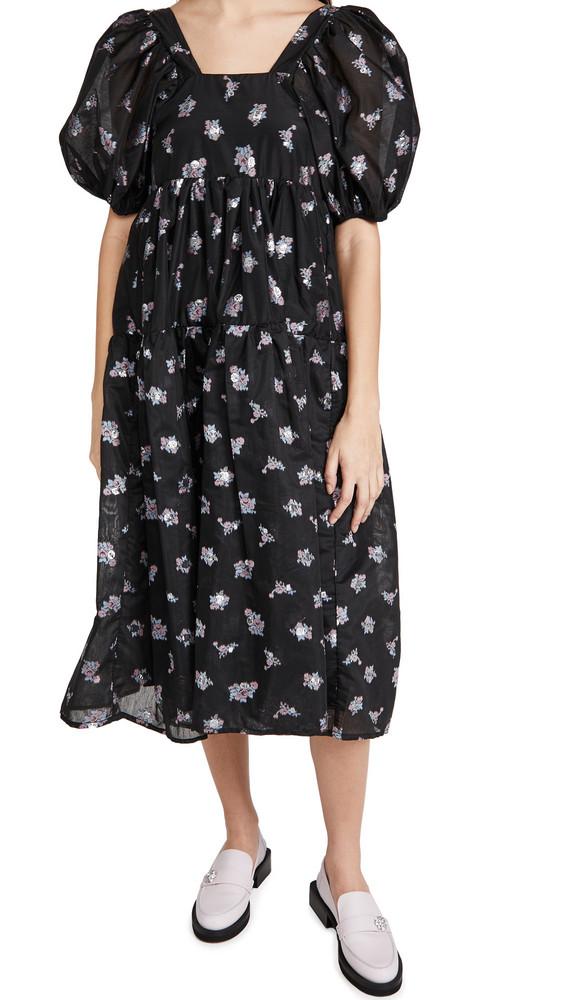 Sister Jane Gilda Jacquard Midi Dress in black