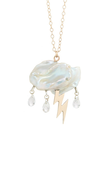 Rachel Quinn Storm Cloud Pearl 14K Yellow Gold Necklace in white