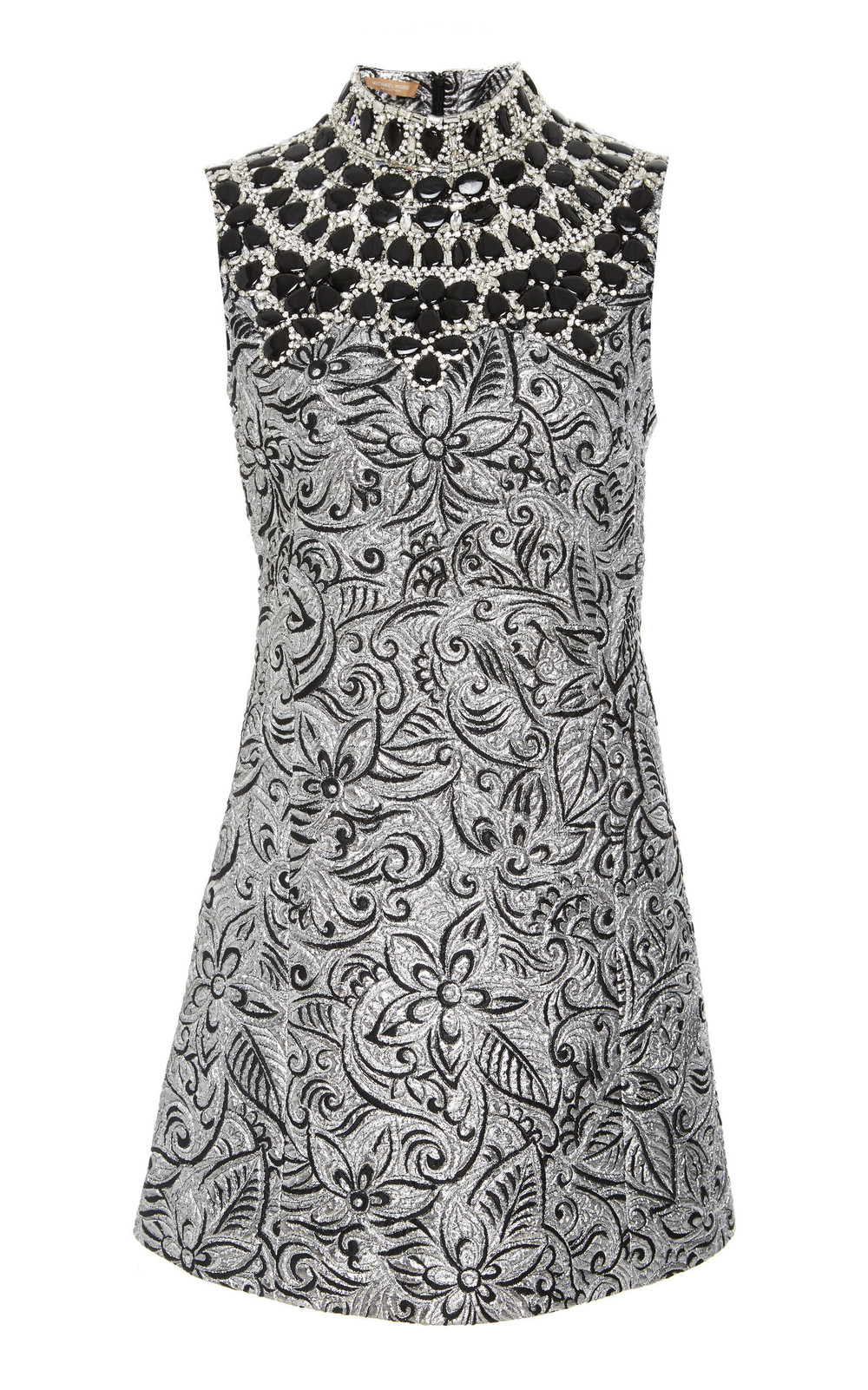 Michael Kors Collection Shift Dress With Embroidered Bib in silver