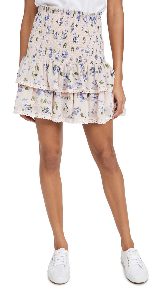 ENGLISH FACTORY Floral Smocked Ruffled Skirt in pink / multi