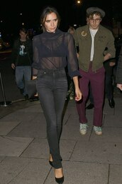 top,black,black top,shirt,blouse,see through,see through top,victoria beckham,celebrity,fall outfits,denim,jeans