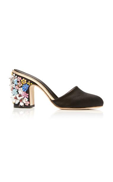 Giambattista Valli Floral Heel Mule Size: 39 in black
