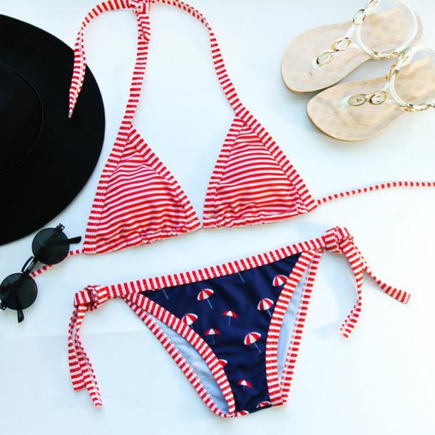 swimwear bikini stripes summer beach trendy fashion style gamiss red cute blue umbrella