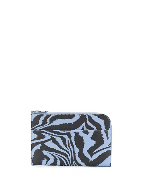 GANNI zebra print curved purse in blue
