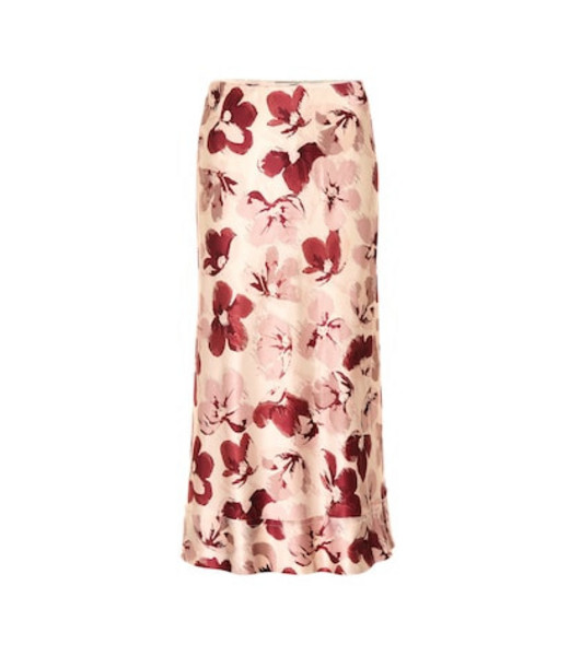 Lee Mathews Exclusive to Mytheresa – Lucinda floral satin midi skirt in pink