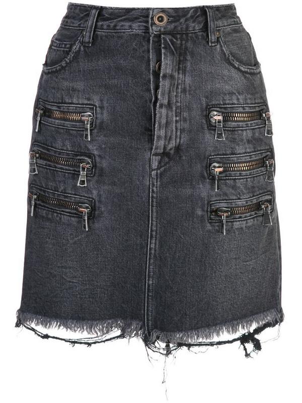 UNRAVEL PROJECT zip-detail distressed denim skirt in black