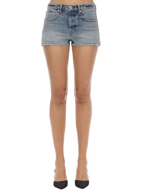 ALEXANDER WANG Cotton Denim Shorts in blue