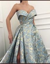 dress,blue,gold,prom,gown,strapless,strapless dress,light blue