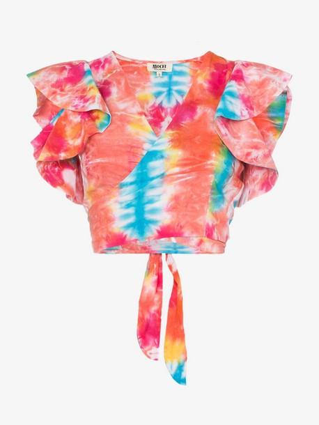 All Things Mochi Lana tie-dye cropped cotton top in blue / orange