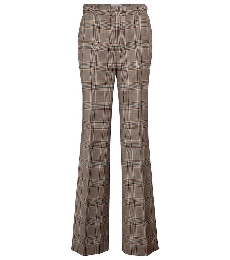 Gabriela Hearst Vesta checked wide-leg virgin wool pants in brown